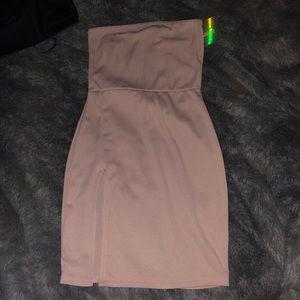 RIBBED SLIT MINI DRESS
